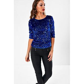 iClothing Patsy Sequin Top In Blue-8