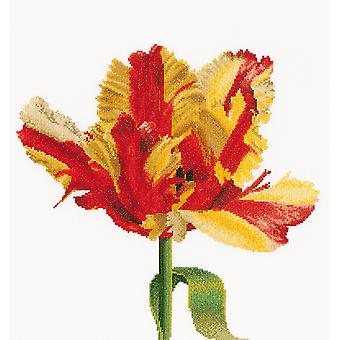 Red/Yellow Parrot Tulip On Aida Counted Cross Stitch Kit-13.5