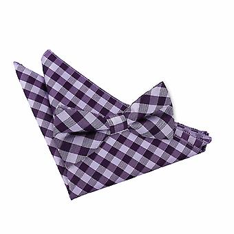 Purple Gingham Check Bow Tie 2 pc. Set