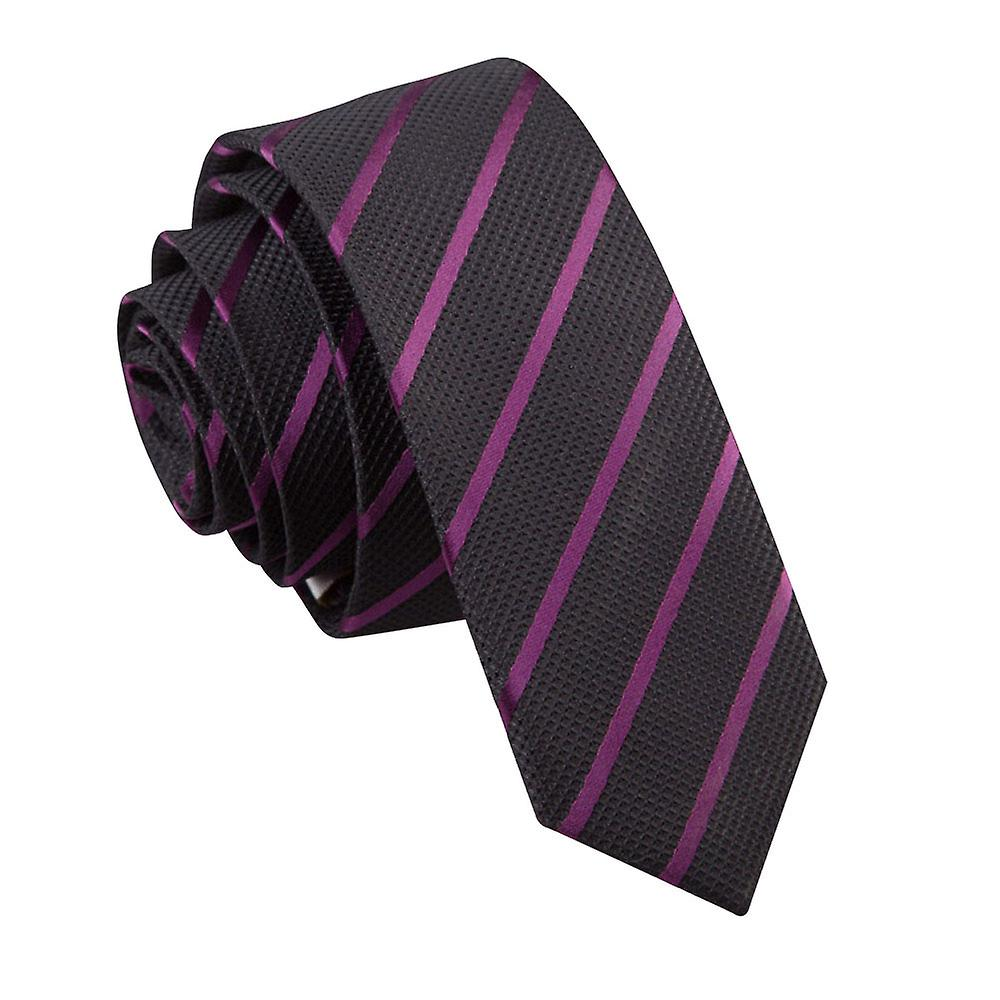 Single Stripe Black & Purple Skinny Tie