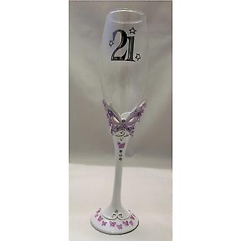LILAC 21st BIRTHDAY BUTTERFLY CHAMPAGNE GLASS. 21st BIRTHDAY CHAMPAGNE FLUTE ...