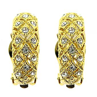 Clip On Earrings Store Gold Plated & Swarovski Crystal Filigree Semi Hoop Clip On Earrings