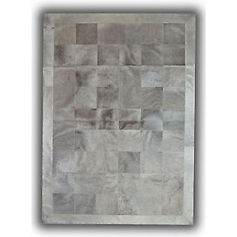 Rugs - Patchwork Leather Cubed Cowhide - Light Grey with Border