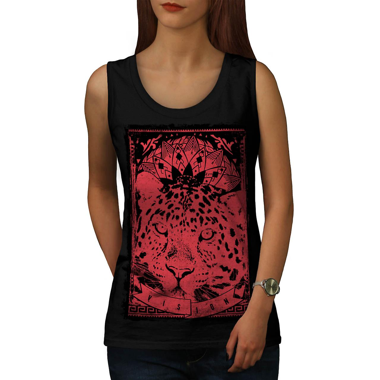 Leopard Vision Animal Women Black Tank Top | Wellcoda