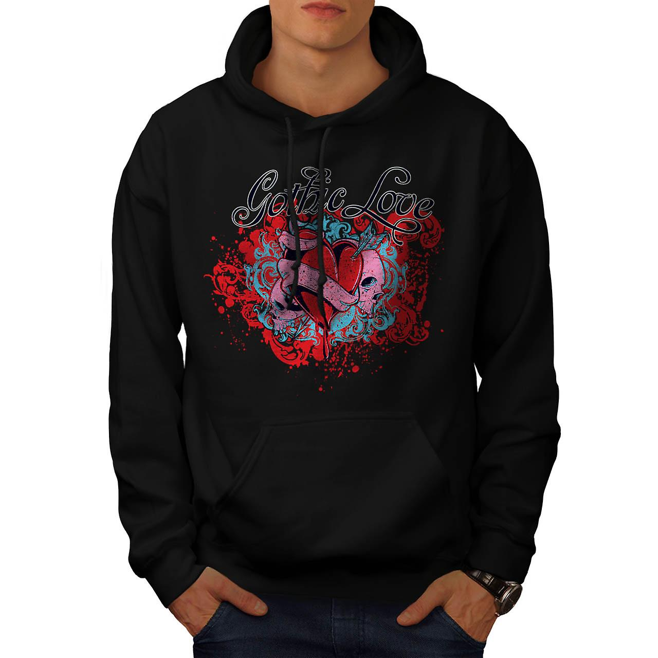 Gothic Love Heart Evil Romance Men Black Hoodie | Wellcoda