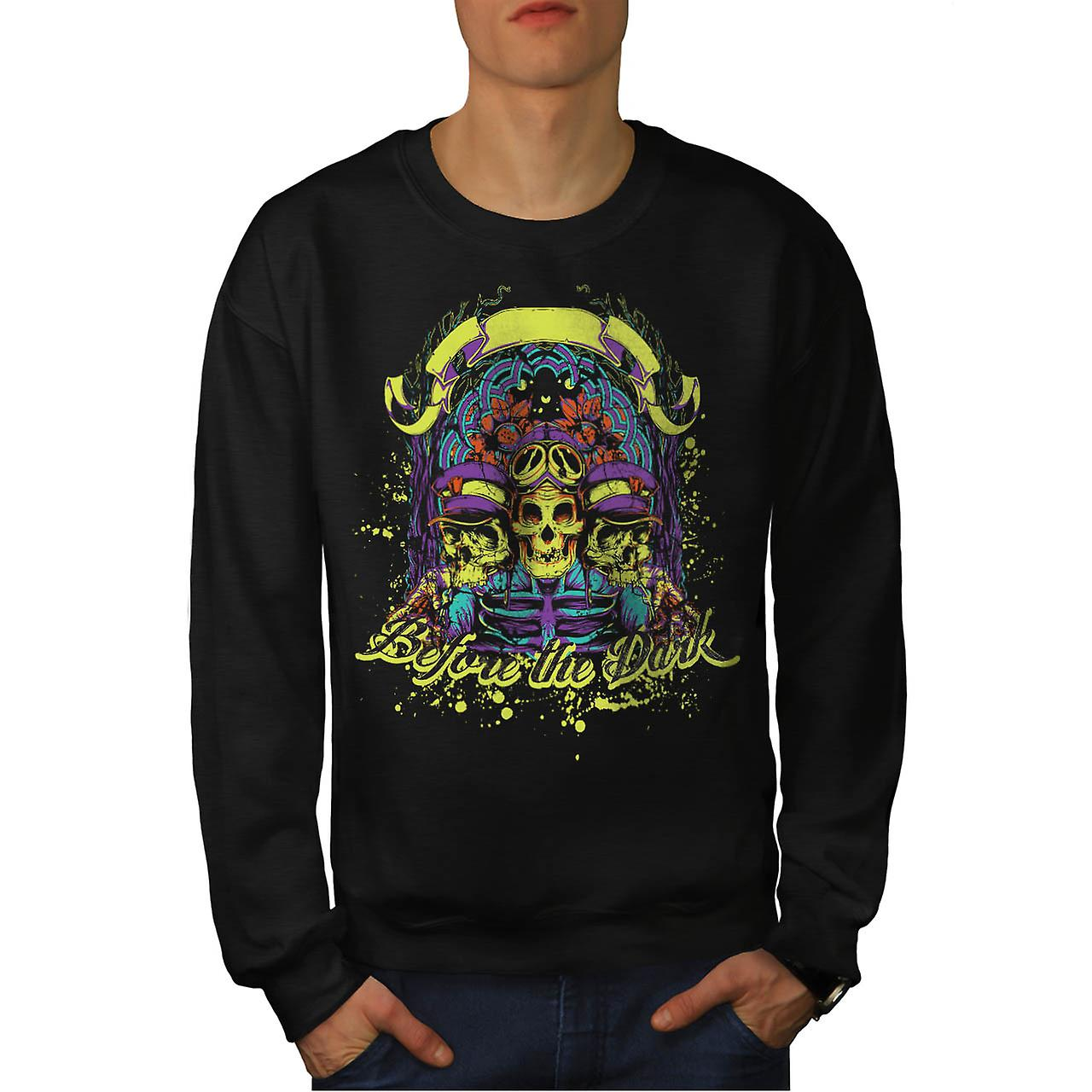 Before Dark Skull Biker Skull Ride Men Black Sweatshirt | Wellcoda