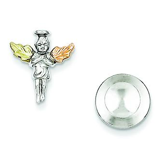 Sterling Silver and 12k Angel Pin Tie Tack - .1 Grams