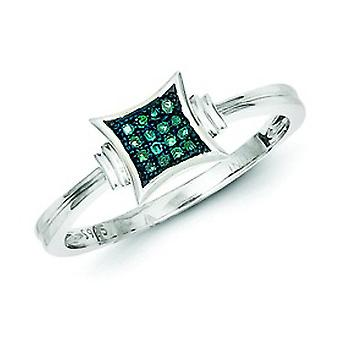 Sterling Silber mit White Blue Diamonds Square Ring - Ring-Größe: 6 bis 8
