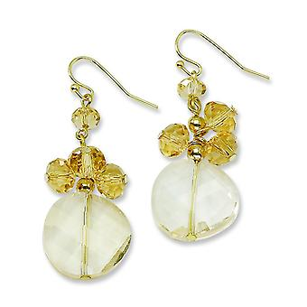 Gold-tone Yellow Crystal Round Drop Earrings