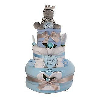 Blue Baby Boy Zebra Nappy Cake Gift (Three Tier)