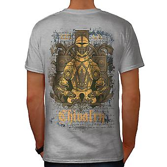 Chevalerie 13AD Knight Armour USA homme gris T-shirt retour | Wellcoda