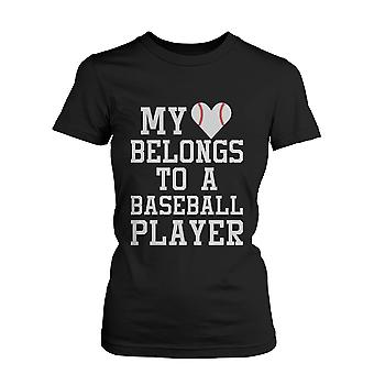 My Heart Belong to A Baseball Player Graphic Tee- Women's Funny Statement Black T-Shirt