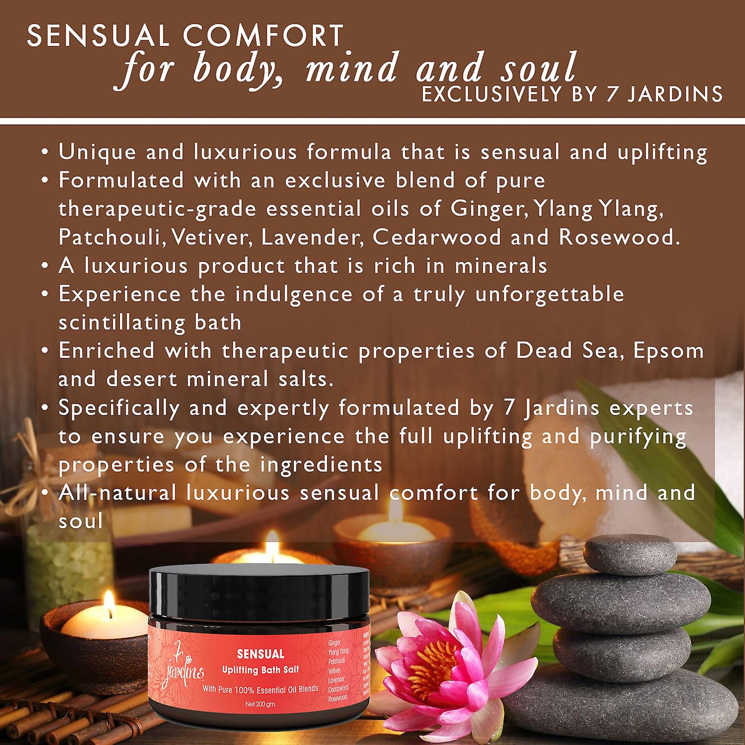 7 Jardins Sensual Uplifting Bath Salt with 100% Natural & Pure Therapeutic Grade Dead Sea and Epsom Salts with Essential Oils (Lavender, Ginger, Ylang Ylang, Cedarwood, Patchouli, Rosewood & Vetiver)