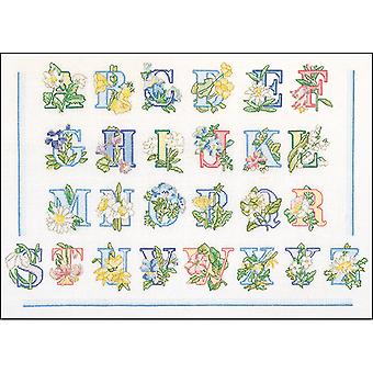Floral Alphabet On Aida Counted Cross Stitch Kit-12.5