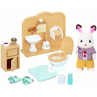 Sylvanian Chocolate Rabbit Brother Bathroom Set