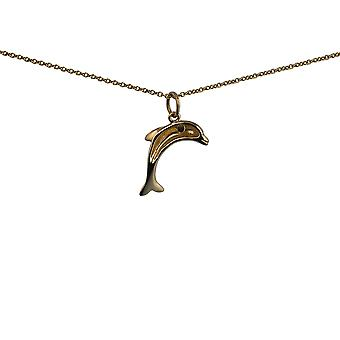 9ct Gold 19x15mm domed Dolphin Pendant with a cable Chain 16 inches Only Suitable for Children