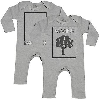 Spoilt Rotten Imagine & Emptiness Baby Footless Romper Twins Set