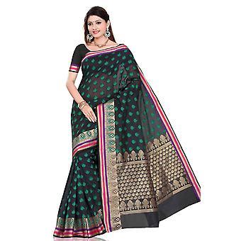 Black with designer shoulder drop art silk Indian sari bellydance wrap