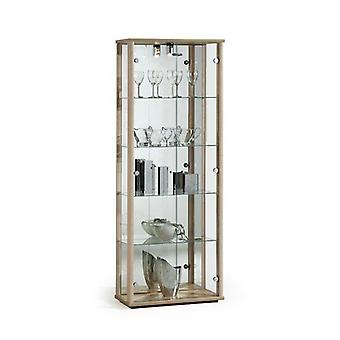 Oak Wood Lockable Glass Display Cabinet with Lighting - 670mm