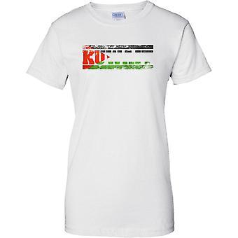 Efeito de bandeira de nome de país de Grunge Kuwait - feminina T-Shirt