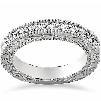 1/4ct Vintage Diamond Hand Engraved Wedding Anniversary Ring 14K White Gold
