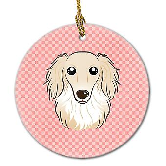 Checkerboard Pink Longhair Creme Dachshund Ceramic Ornament