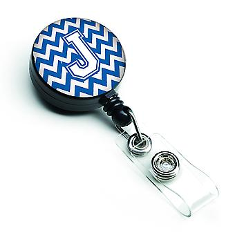 Letter J Chevron Blue and White Retractable Badge Reel