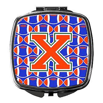 Buchstabe X Fußball grün, blau und Orange Taschenspiegel