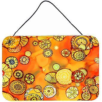 Abstracte bloemen in sinaasappelen en geel muur of deur hangen Prints