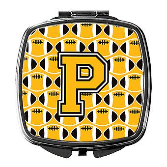 Letter P Football Black, Old Gold and White Compact Mirror