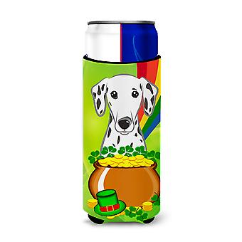 Dalmatian St. Patrick's Day Michelob Ultra beverage Insulator for slim cans