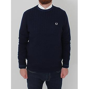 Fred Perry Waffle Crew Neck Knit - Navy
