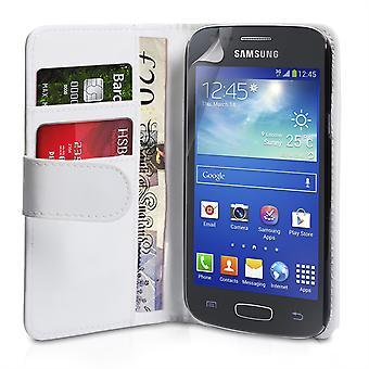 Yousave Samsung Galaxy Ace 3 läder-effekt plånbok väska - vit