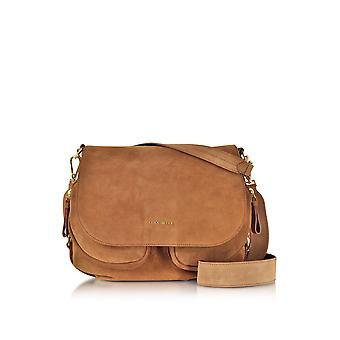 Coccinelle women's E1BF0120101074 brown suede leather shoulder bag