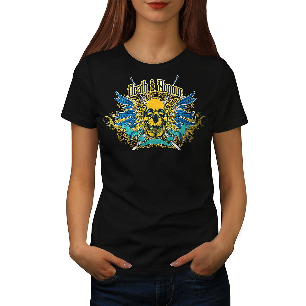 Death Honour Biker Skull Women Black T-shirt | Wellcoda