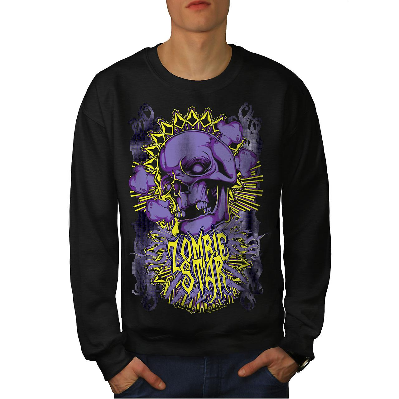 Star Horror Death Zombie Men Black Sweatshirt | Wellcoda