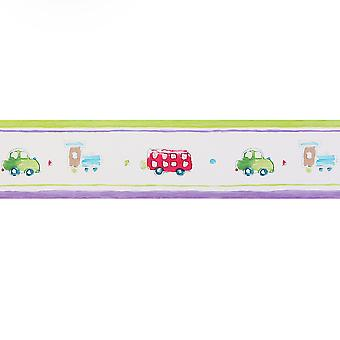 Designers Guild Green, Cream & Purple Wallpaper Roll - Border Design - P358-01