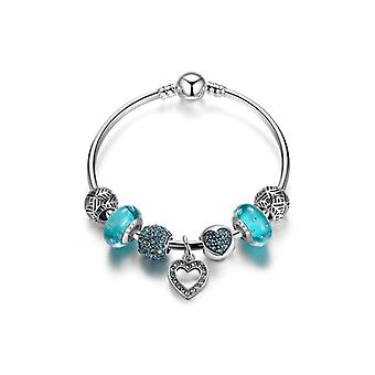 Silver Plated Bangle Bracelet With Charms Pa3801