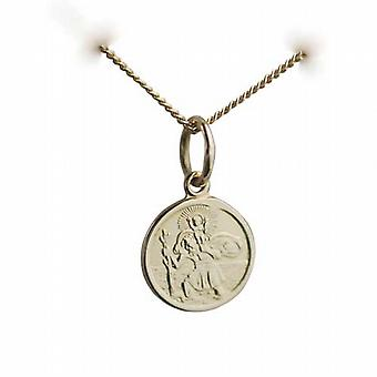 18ct Gold 10mm round St Christoper Pendant with a curb Chain 20 inches Only Suitable for Children