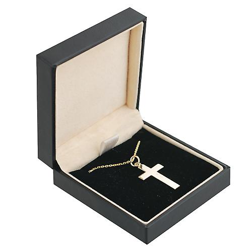 9ct Gold 24x14mm flat latin Crucifix Cross with a cable Chain 16 inches Only Suitable for Children