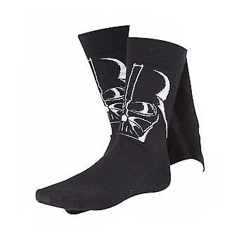 Star Wars Adult Male Darth Vader 3D Cape Crew Socks 39/42 Black (CR110905STW-39/42)