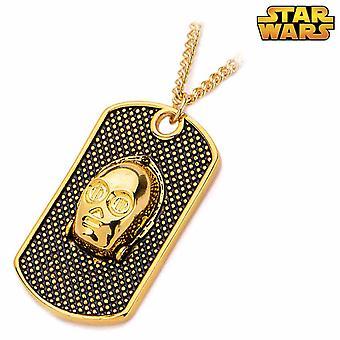 Star Wars Gold plattiert C-3PO Dog Tag Anhänger Halskette