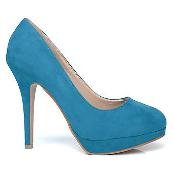 EVE Turquoise Faux Suede Stiletto High Heel Platform Court Shoes