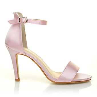 PAM Baby Pink Satin Ankle Strap Barely There Bridal High Heel Sandals