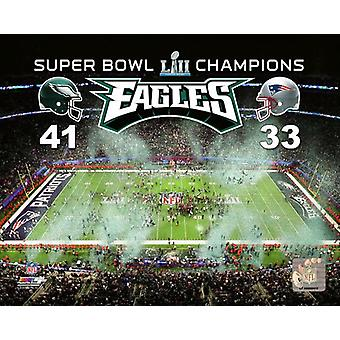US Bank Stadium Super Bowl LII with Overlay Photo Print
