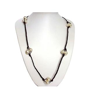 Beads leather and 925 Silver necklace noble white White Pearl Necklace