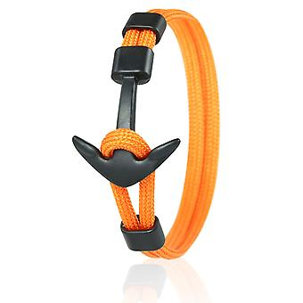 Skipper Anker Armband 21 cm Nylon Armschmuck Orange mit Schwarzem Anker 6970
