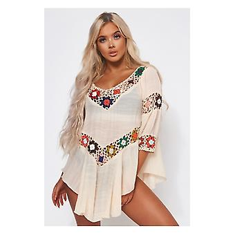 The Fashion Bible Sofia Beige Multicoloured Cover Up