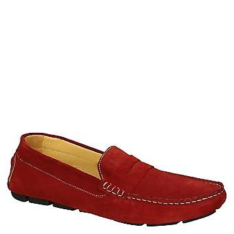 Red suede moccasin shoes for men handmade in Italy