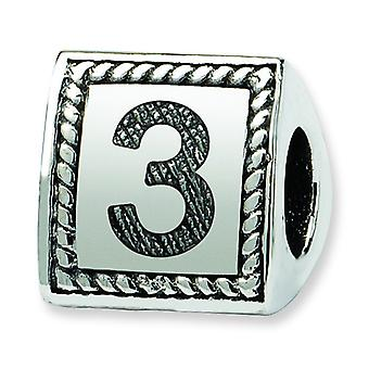 Sterling Silver Polished Antique finish Reflections Number 3 Triangle Block Bead Charm